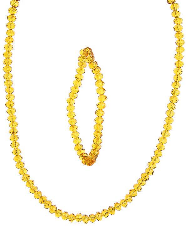 Bright Gold Necklace with Stretch Bracelet Set