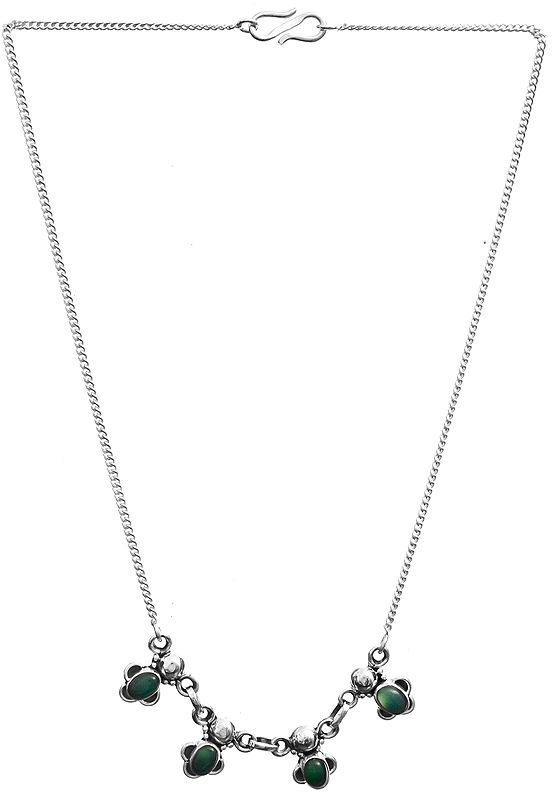 Sterling Chain Necklace with Green Ovals