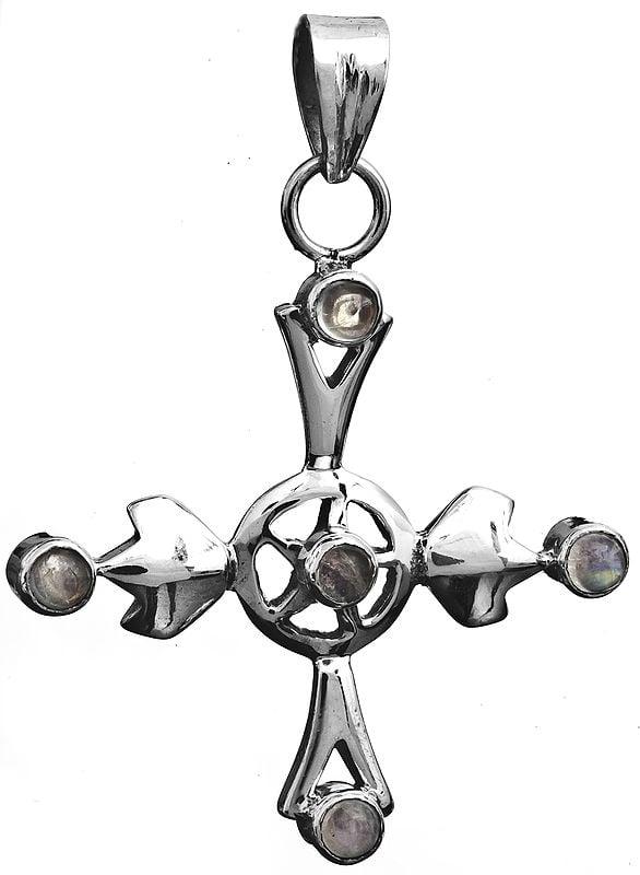 Rainbow Moonstone Cross Pendant