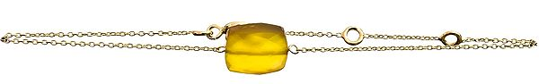 Faceted Yellow Chalcedony Gold Plated Bracelet