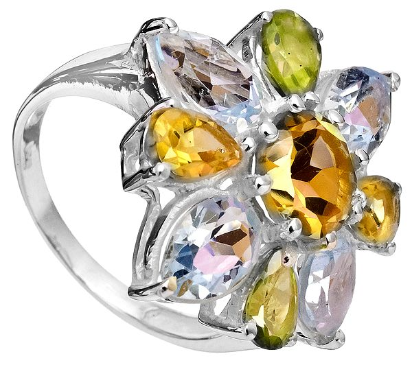 Faceted Gemstone Ring (BT, Citrine and Peridot)