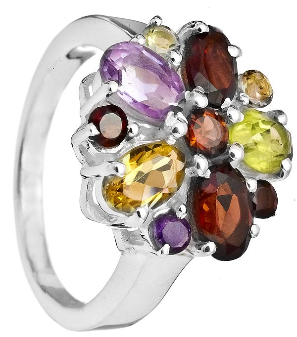 Faceted Gemstone Ring (Amethyst, Peridot and Citrine)