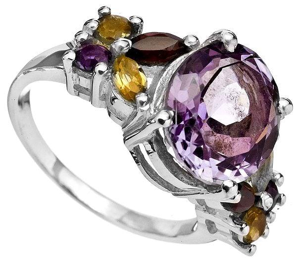 Faceted Gemstone Ring (Amethyst, Citrine and Garnet)