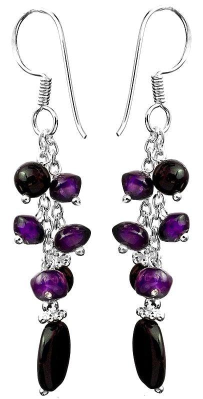 Black Onyx and Amethyst Shower Earrings
