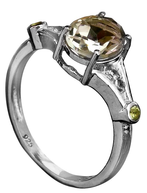 Faceted Green Amethyst Ring with Peridot