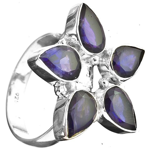 Faceted Iolite Ring