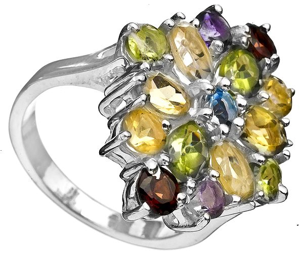 Faceted Gemstone Ring (Amethyst, Garnet, Citrine, Peridot and BT)