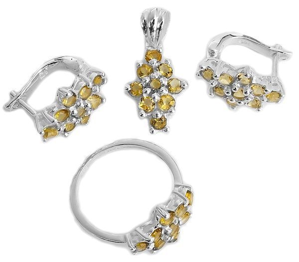 Faceted Citrine Pendant with Earrings and Ring Set