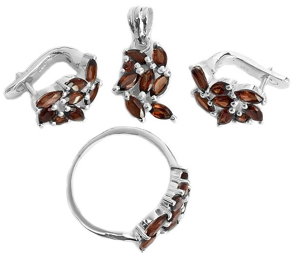 Faceted Garnet Pendant with Earrings and Ring Set