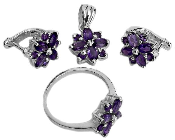 Faceted Amethyst Pendant with Earrings and Ring Set