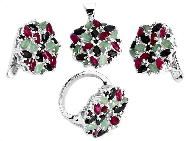Faceted Gemstone Pendant with Earrings and Ring Set (Emerald, Ruby and Sapphire)