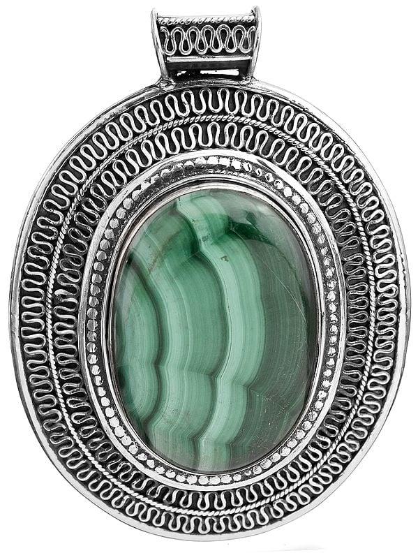 Malachite Large Pendant with Filigree