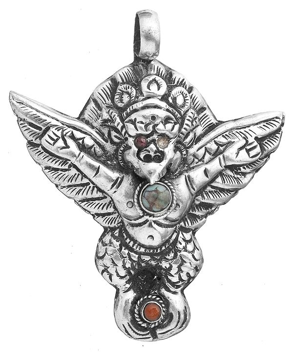 Garuda Pendant with Turquoise and Coral (Mixed Design)