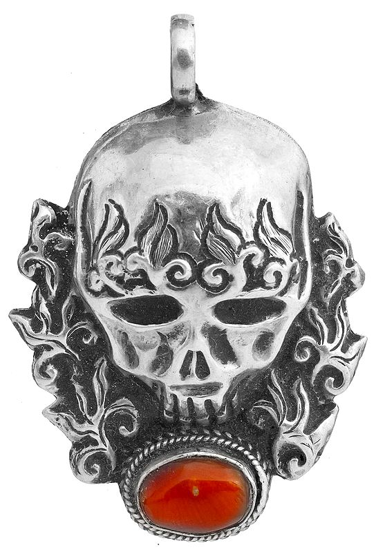 Skull Pendant with Coral