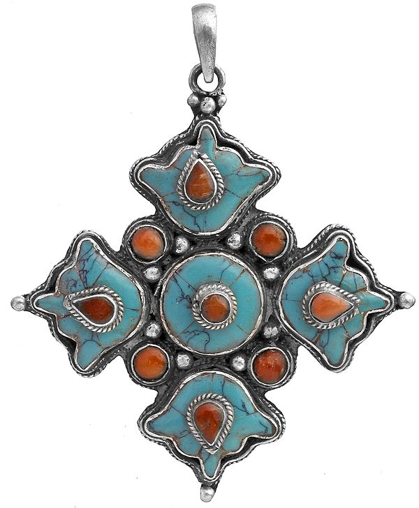 Coral with Turquoise Pendant