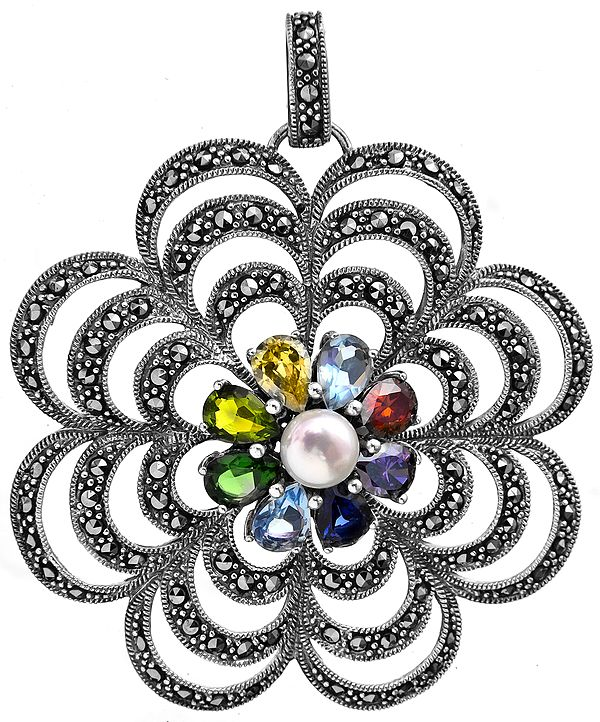 CZ and Pearl Flower Pendant
