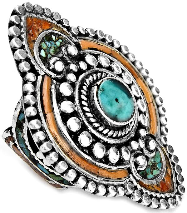 Turquoise with Coral Ring from Afghanistan