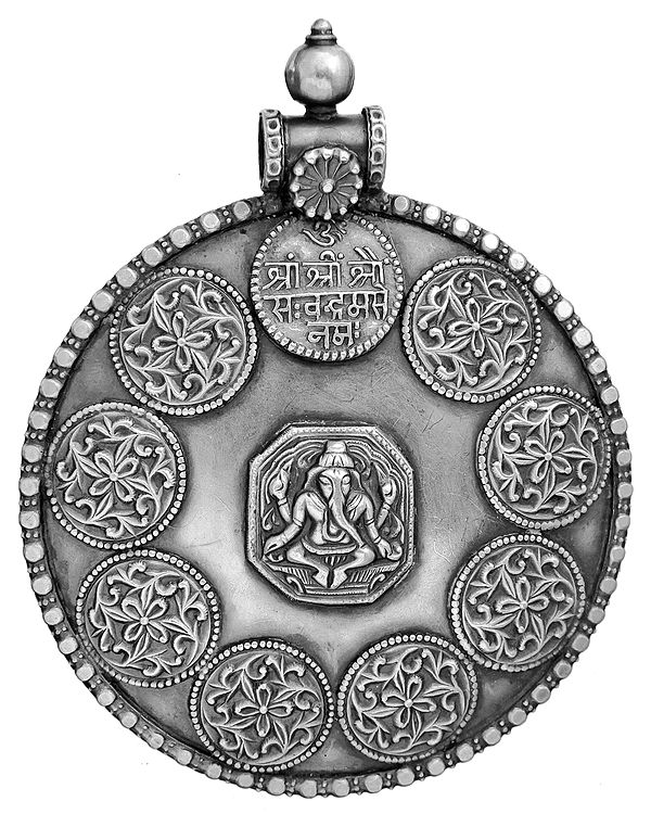 Lord Ganesha Large Pendant with Syllable Mantra