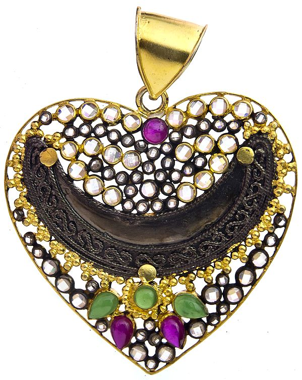 Heart-Shape Gold Plated Pendant with Ruby and Emerald