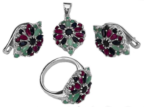 Faceted Three Gemstone Pendant with Earrings and Ring Set