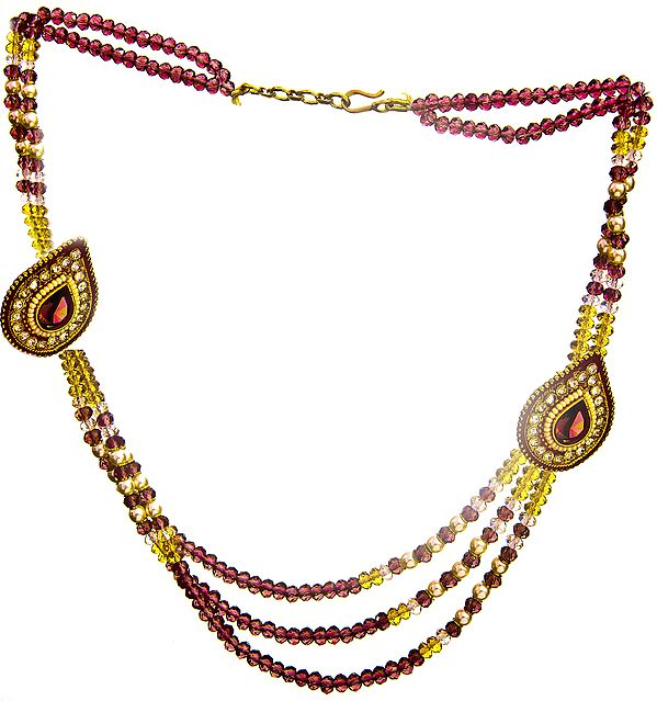 Faux Ruby Necklace with Earrings Set