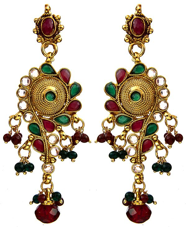 Faux Ruby and Emerald Post Earrings