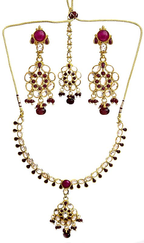 Faux Ruby Neckalce Set with Earrings and Mang Tika