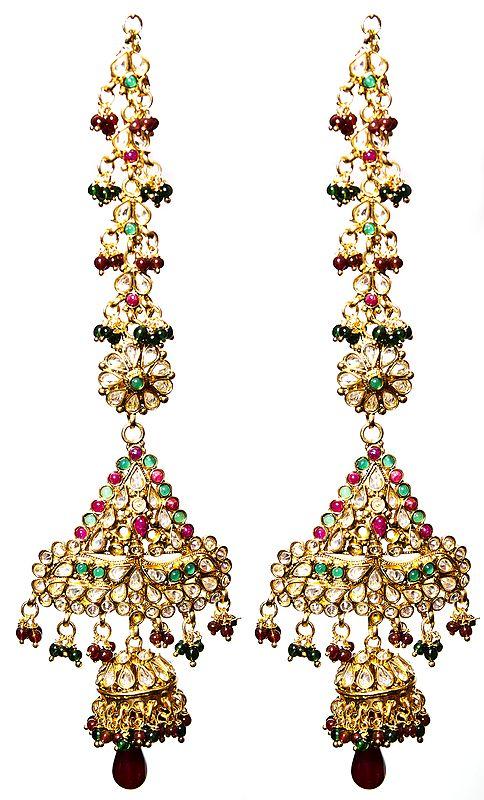 Faux Ruby and Emerald Polki Earwrap Earrings