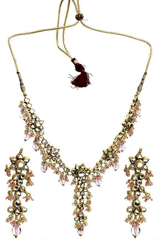 Pink Kundan Beaded Necklace Set with Earrings and Mang Tika