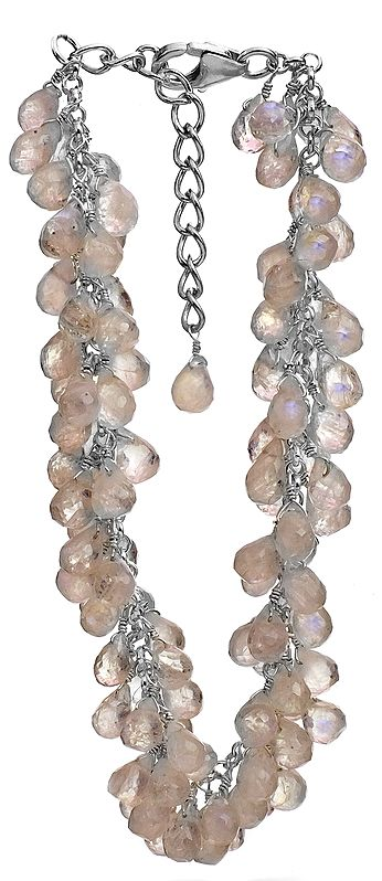 Faceted Rainbow Moonstone Bunch Bracelet