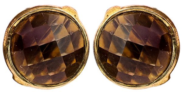 Faceted Smoky Quartz Gold Plated Tops