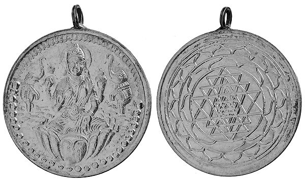 Hindu Pendant with Goddess Lakshmi on One Side and the Shri Yantra on the Other