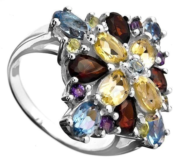 Faceted Gemstone Ring (BT, Amethyst, Garnet, Peridot and Citrine)