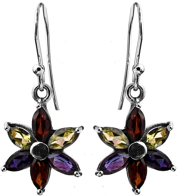 Faceted Three Gems Earrings (Garnet, Iolite and Peridot)