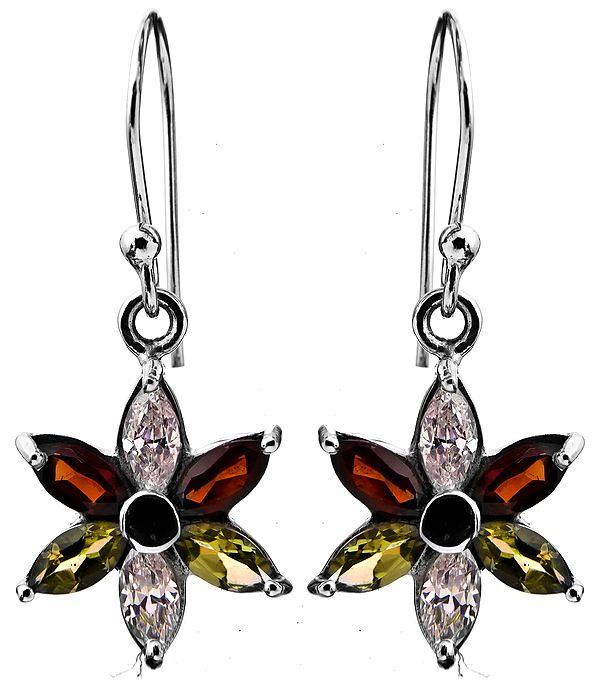 Faceted Three Gemstone Earrings (Garnet, CZ and Peridot)