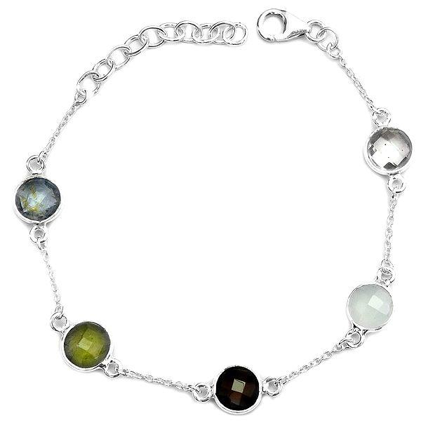 Faceted Gemstone Bracelet (BT, Prehnite, Smoky Quartz, Peru Chalcedony and Crystal)