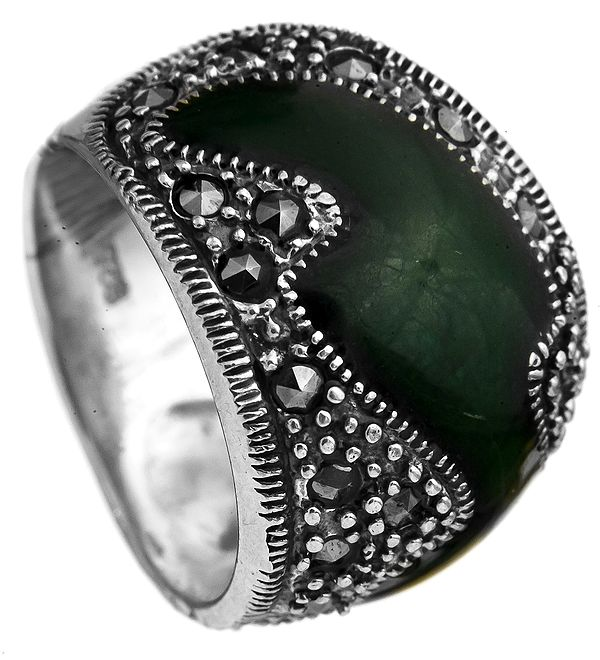 Green Marcasite Ring