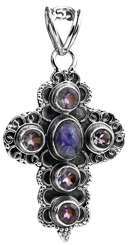 Cross Pendant with Iolite and Amethyst