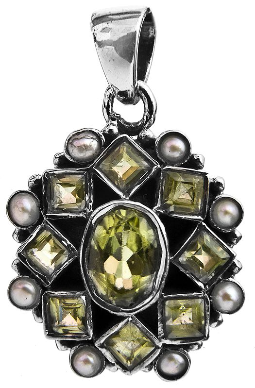 Faceted Peridot Pendant with Pearl