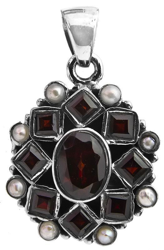 Faceted Garnet Pendant with Pearl