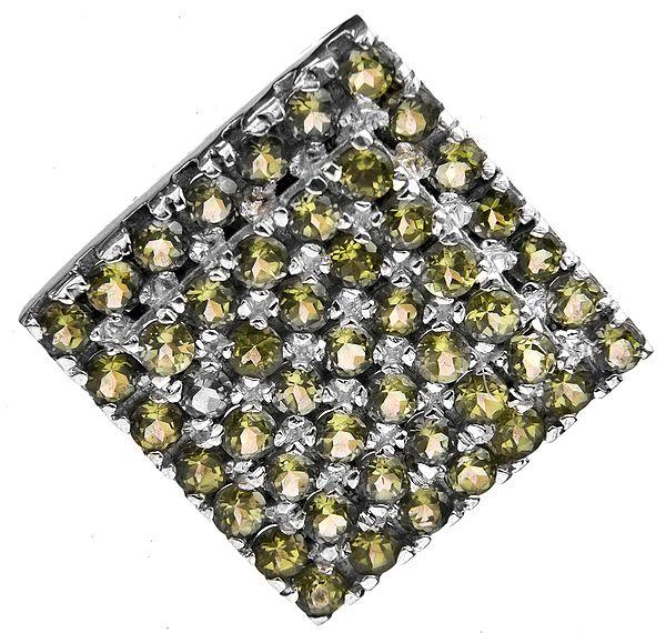 Faceted Peridot Rhombus Pendant