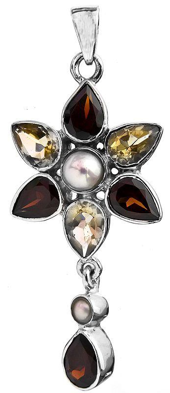 Faceted Gemstone (Garnet, Citrine and Pearl) Flower Pendant