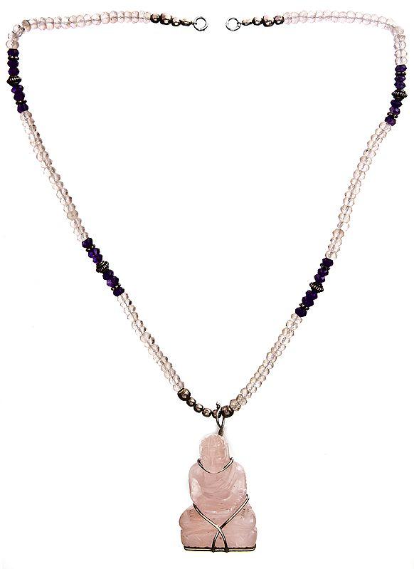 Faceted Rose Quartz Buddha Necklace