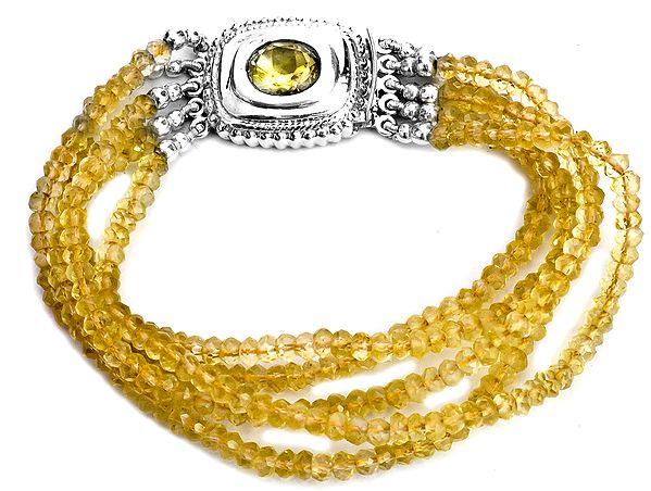 Faceted Five-Strand Citrine Bracelet