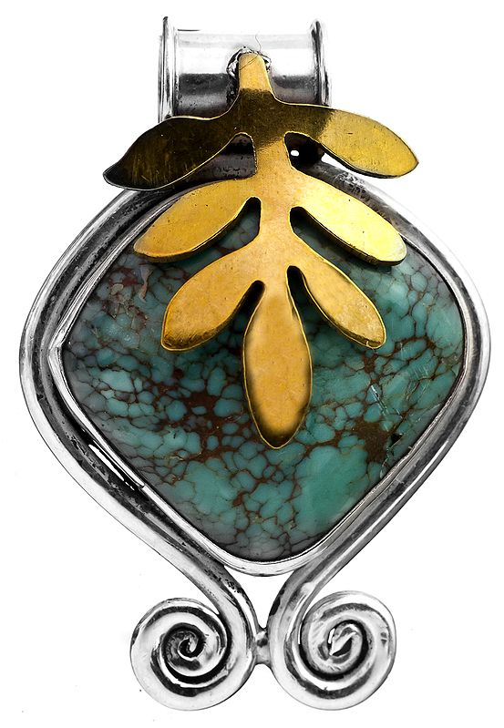 Turquoise Pendant with Gold Plated Leaves