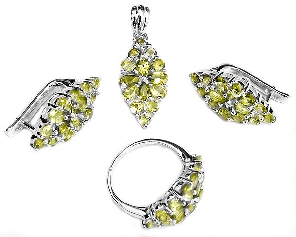 Faceted Peridot Pendant with Earrings and Ring Set