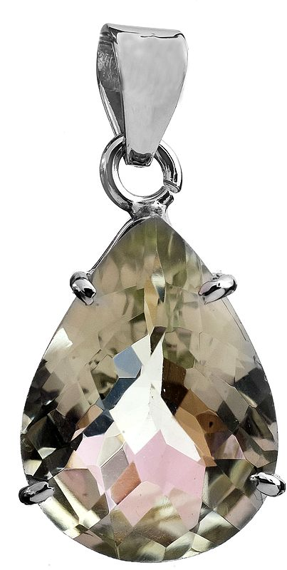 Faceted Green Amethyst Pendant