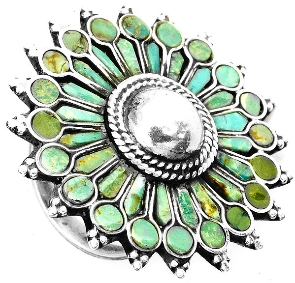 Turquoise Blooming Flower Ring