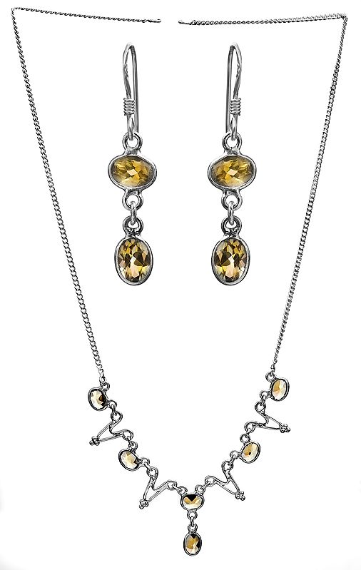 Faceted Citrine Necklace with Earrings Set