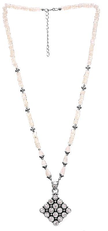 Rainbow Moonstone Necklace with CZ Pendant